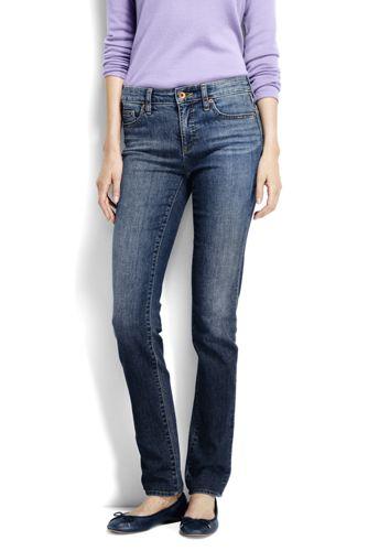 Womens Petite Medium Wash Mid Rise Straight Leg Jeans - 10 26 - BLUE Lands End XmZTeL