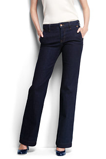 Dark Rinse Denim-Jeans mit weitem Bein