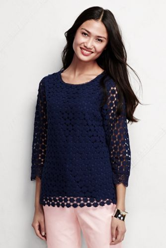 Women's Regular Three Quarter Sleeve Eyelet Lace Top
