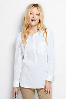 Women's Long Sleeve Patterned Cotton Popover Tunic