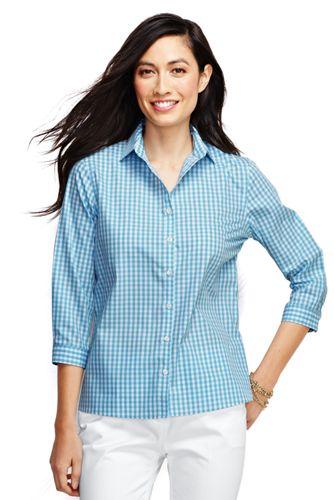 La Chemise Supima Facile d'Entretien à Motifs et à Manches ¾ Femme, Taille Standard