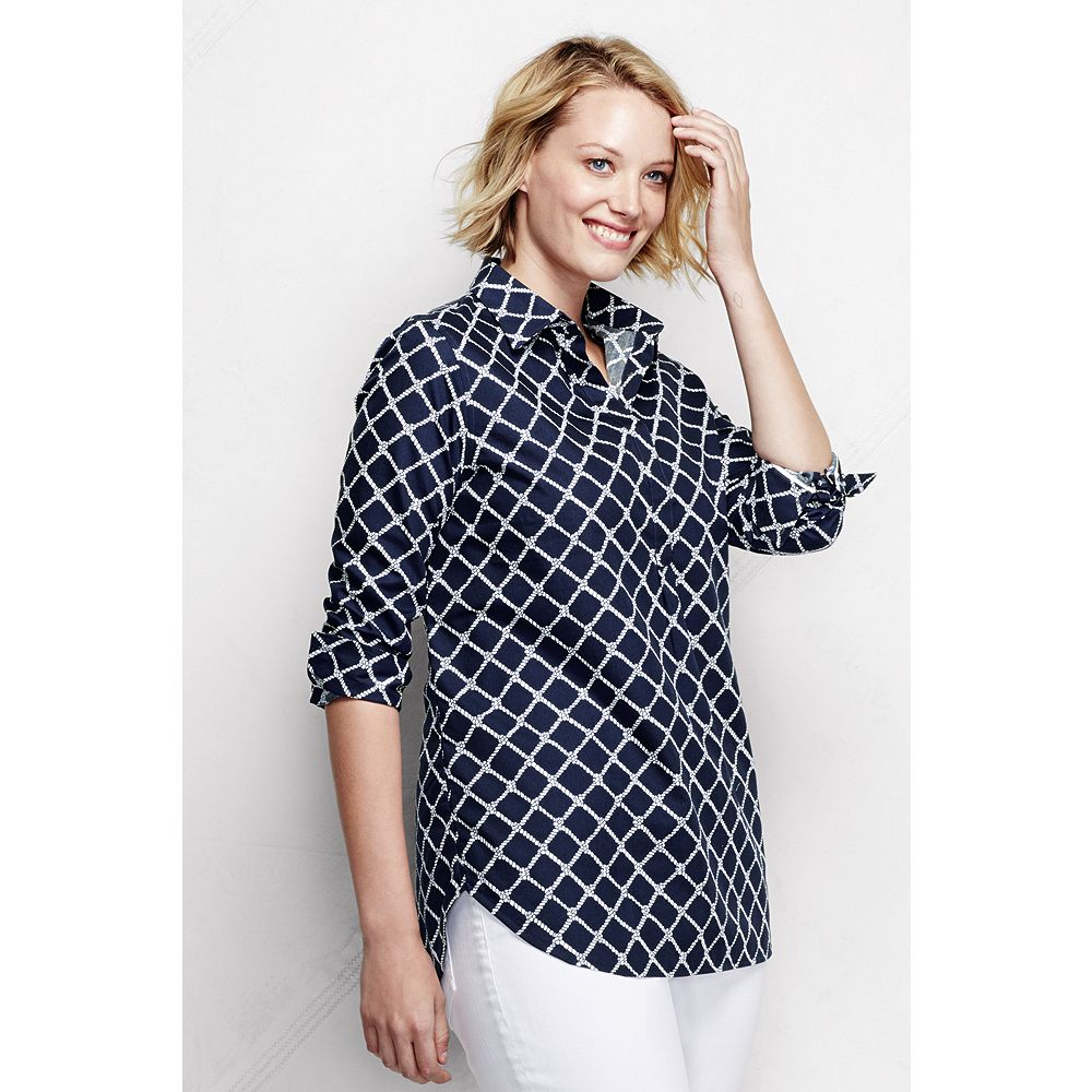 Lands' End Women's Plus Size Long Sleeve No Iron Tunic Top - Pattern at Sears.com