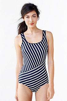 Women's Long Tugless Striped Swimsuit