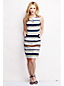 Women's Regular Stripe Ottoman Keyhole Ponte Jersey Shift Dress