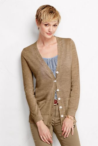 Women's Regular Merino Long V-Neck Cardigan