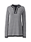 Women's Regular Fine Gauge Cotton Notched Neck Striped Tunic