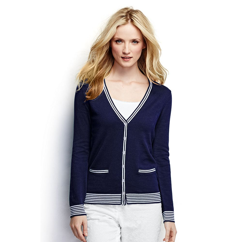 Lands' End Women's Cotton Cardigan Sweater - Tipped