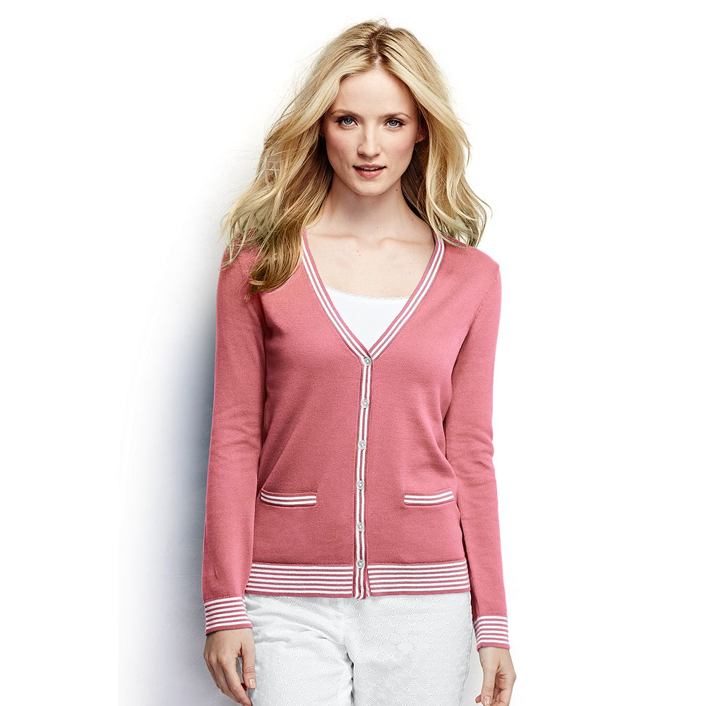 Lands' End Women's Petite Cotton Cardigan Sweater - Tipped