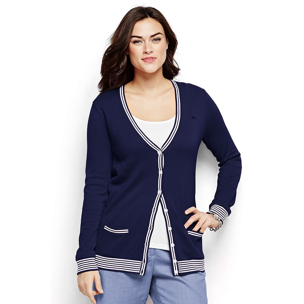 Lands' End Women's Plus Size Cotton Cardigan Sweater - Tipped