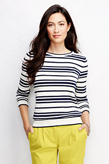 Women's Three Quarter Sleeve Supima® Stripe Crew Neck Jumper