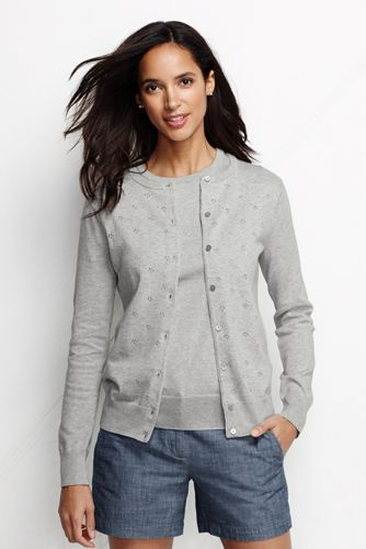 Women's Regular Pointelle Fine Gauge Supima® Cardigan