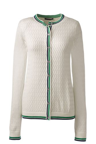 Women's Regular Pointelle Tipped Fine Gauge Supima® Cardigan