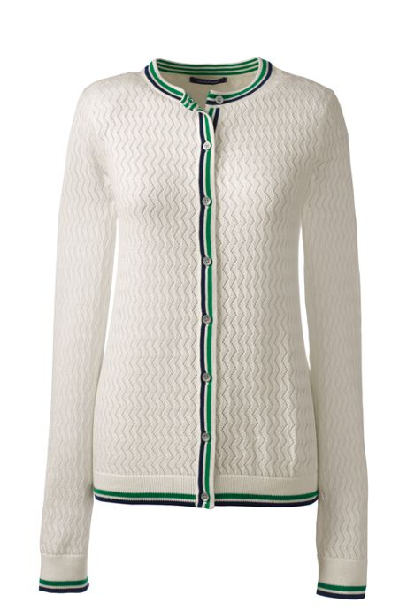 Women's Classic Supima Pointelle Cardigan Sweater