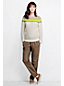 Women's Regular Linen/Cotton Colourblock Boatneck Jumper