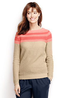 Women's Linen/Cotton Colourblock Boatneck Jumper