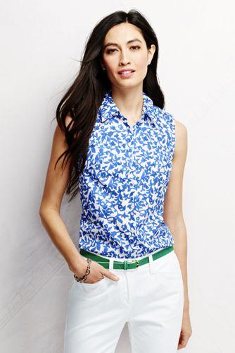 Women's Regular Sleeveless No Iron Pattern Shirt