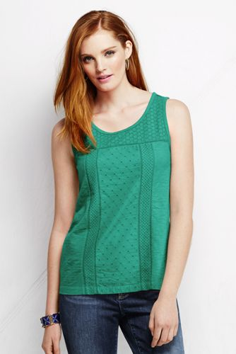 Women's Regular Broderie Anglaise Sleeveless Tee