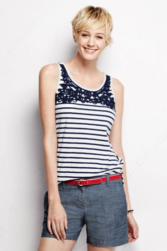 Women's Regular Slub Jersey Embroidered Tank Top