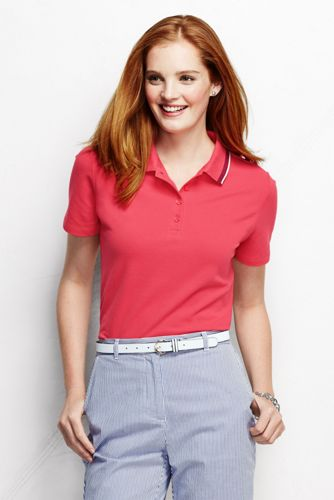 Women's Petite Classic Fit Short Sleeve Piqué Tipped Polo Shirt