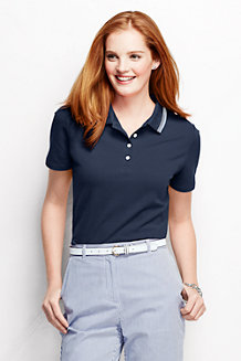 Women's Classic Fit Short Sleeve Piqué Tipped Polo Shirt