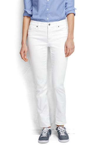 Womens White Mid Rise Slim Leg Denim Jeans