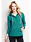 Women's Regular Three Quarter Sleeve Jersey Henley Stripe Hoodie