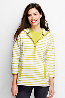 Women's Three Quarter Sleeve Jersey Henley Stripe Hoodie