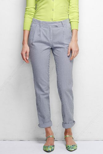 Women's Regular Low Rise Pleated Seersucker Chinos