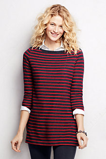 Women's Three Quarter Sleeve Starfish Striped Boatneck Tunic