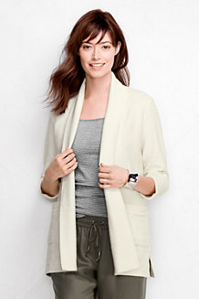 Women's Three Quarter Sleeve Starfish Textured Open Cardigan