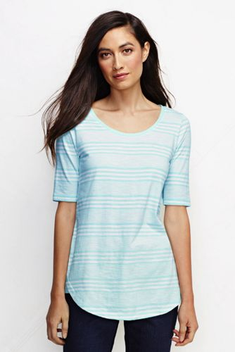 Women's Regular Striped Scoop Neck Longline Top
