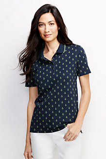 Women's Classic Fit Short Sleeve Tipped Collar Printed Polo Shirt