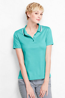 Women's Short Sleeve Tri Colour Tipped Pima Polo