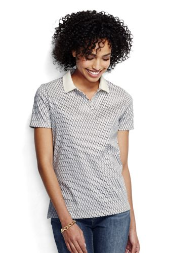 Women's Regular Short Sleeve Tipped Collar Printed Pima Polo Classic Fit