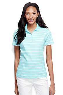 Women's Short Sleeve Tipped Collar Printed Pima Polo Classic Fit