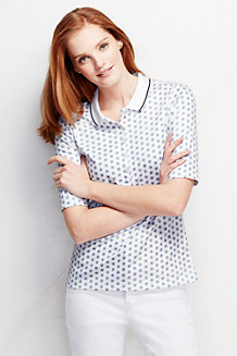 Women's Slim Fit Elbow Sleeve Tipped Collar Printed Polo Shirt