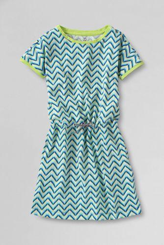Little Girls' Short Sleeve Chevron Pattern Cinched Waist Jersey Knit Dress