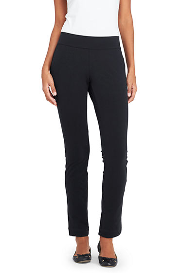 Womens Petite Starfish Straight-leg Stretch Jersey Trousers - 10 12 - BLACK Lands End AtTQyMvB