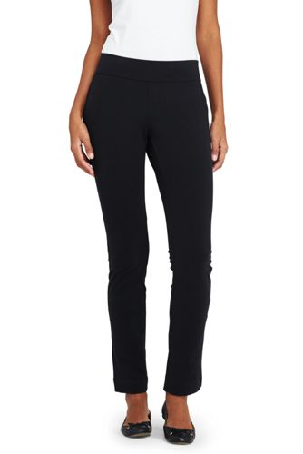 Womens Petite Starfish Straight-leg Stretch Jersey Trousers - 10 12 - BLACK Lands End