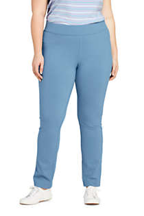 Women's Plus Size Starfish Mid Rise Slim Leg Elastic Waist Pull On Pants, Front