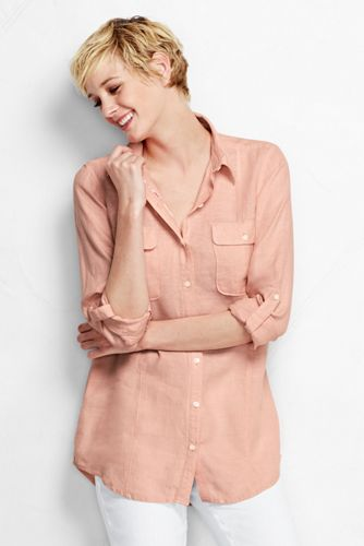 Women's Regular Long Sleeve Pure Linen Tunic
