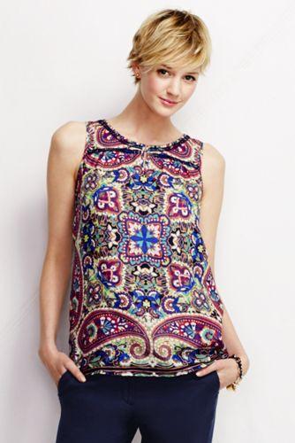 Le Haut sans manches en Lin à motifs Femme, Taille Standard