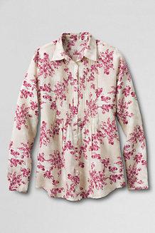 Women's Patterned Pintuck Linen Shirt