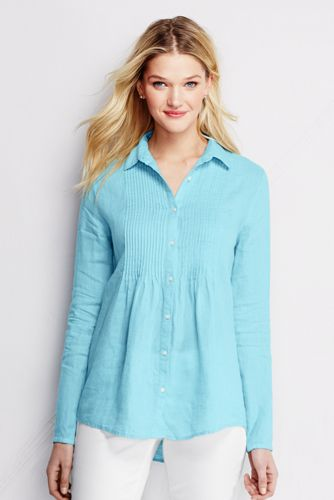 Women's Regular Pintuck Linen Shirt