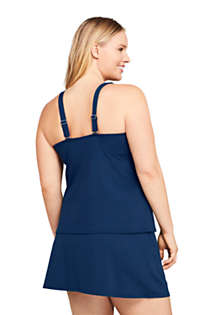 Women's Plus Size Long Square Neck Underwire Tankini Top Swimsuit Adjustable Straps, Back