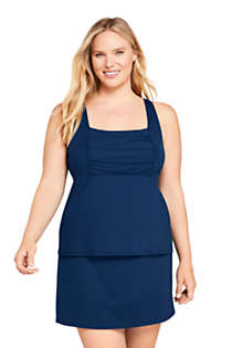 Women's Plus Size Mastectomy Square Neck Tankini Top Swimsuit Adjustable Straps, Front