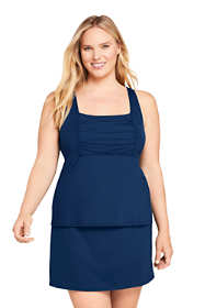 Women's Plus Size DD-Cup Square Neck Underwire Tankini Top Swimsuit Adjustable Straps