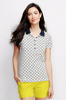 Women's Short Sleeve Tipped Collar Printed Pique Polo Shirt Slim Fit