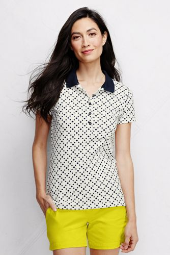 Women's Regular Short Sleeve Tipped Collar Printed Pique Polo Shirt Slim Fit