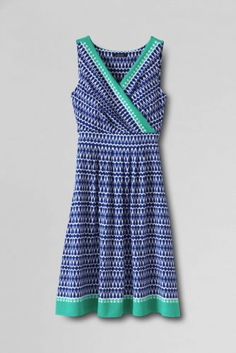Women's Regular Pattern Sleeveless Crossover Dress